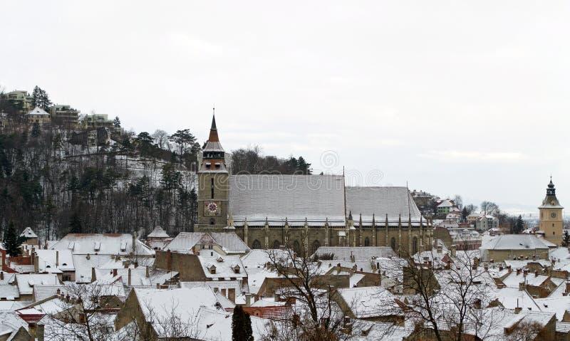 Black Church panoramic view - Brasov, Transylvania royalty free stock photography