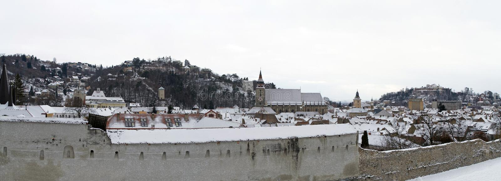 Panoramic view of Brasov old medieval town. In winter time, Transylvania, Romania royalty free stock images