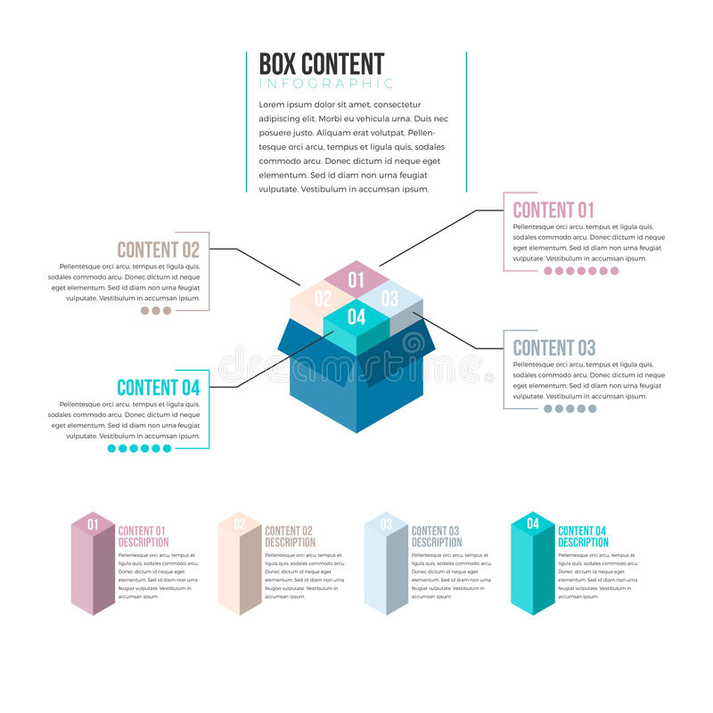 Box Content Infographic. Vector illustration of box content infographic design element royalty free illustration