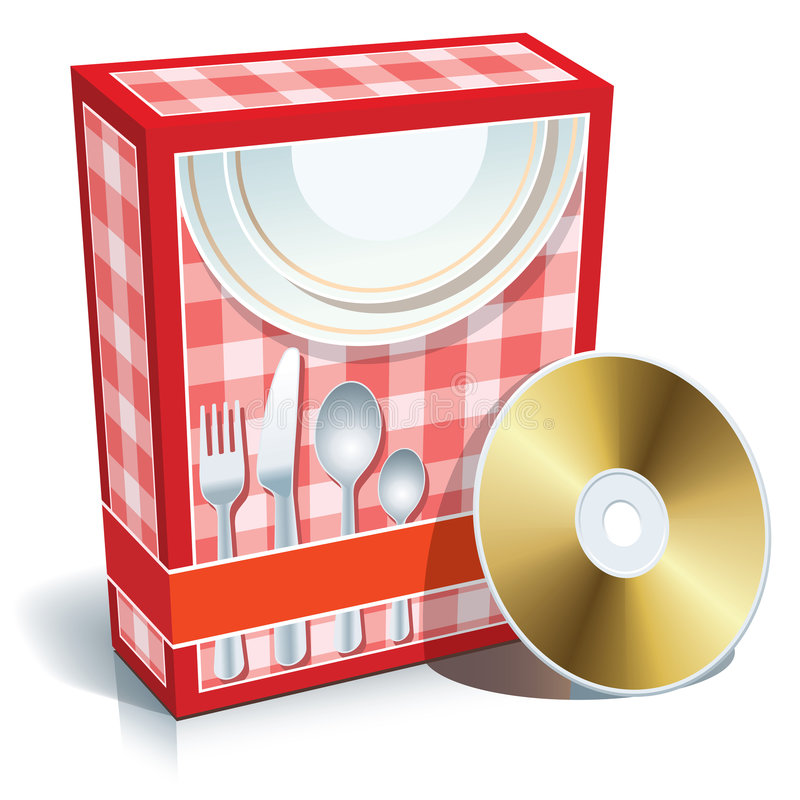 Box with cooking software vector illustration
