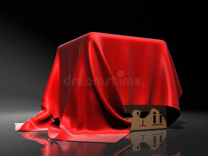 Box covered from above a red silk cloth vector illustration