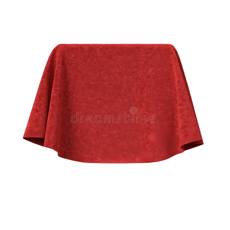 Box covered with red velvet fabric stock photo