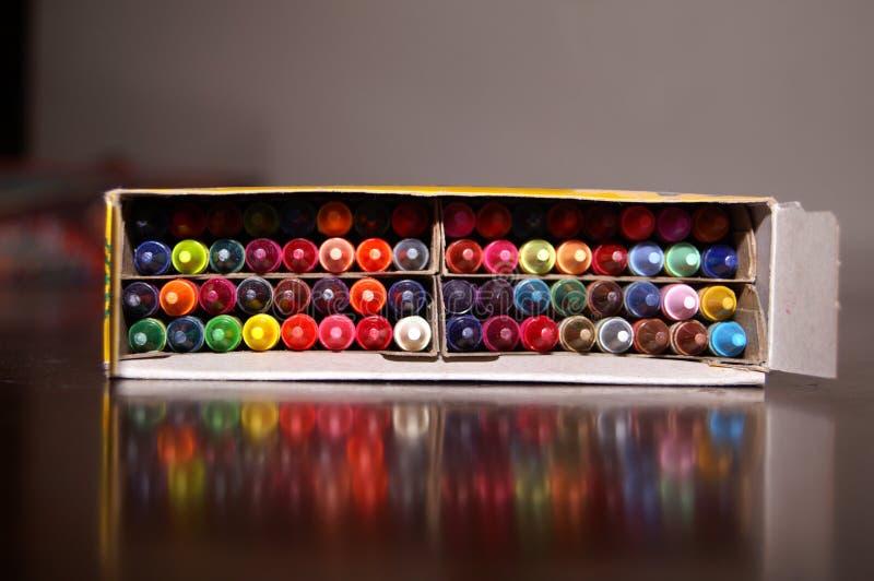 Box of Crayons royalty free stock photography