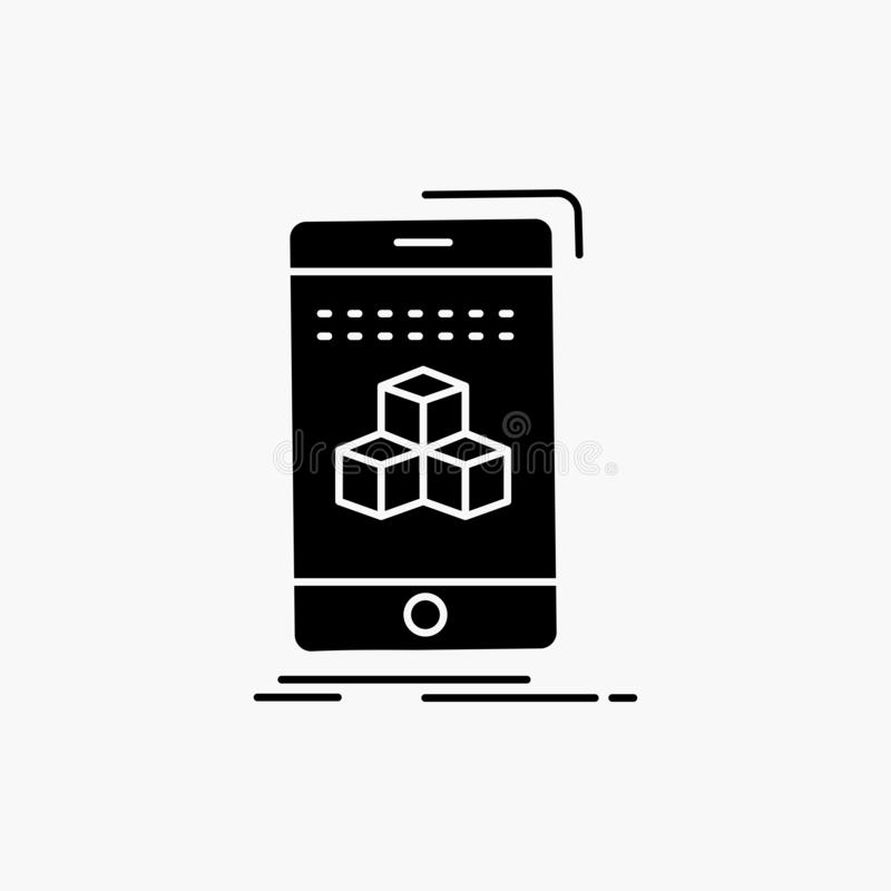 Box, 3d, cube, smartphone, product Glyph Icon. Vector isolated illustration. Vector EPS10 Abstract Template background stock illustration