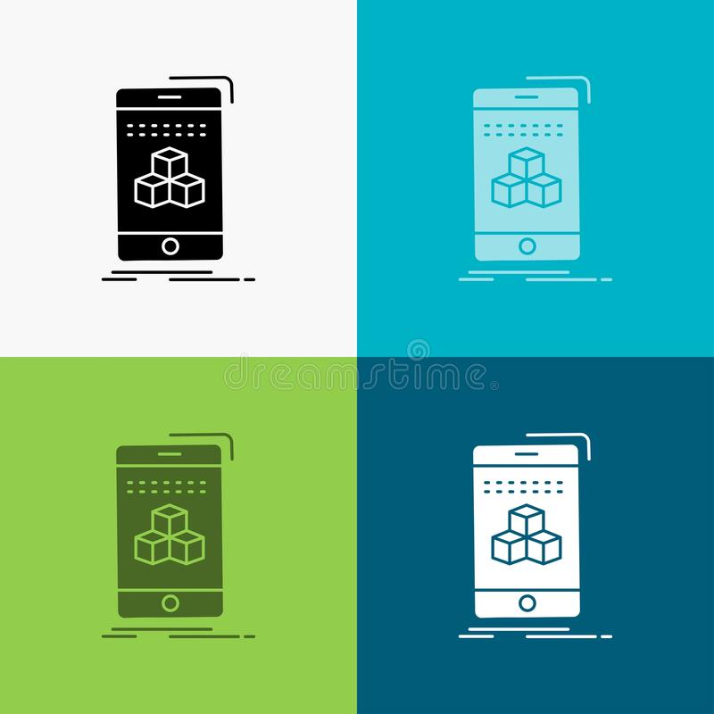 Box, 3d, cube, smartphone, product Icon Over Various Background. glyph style design, designed for web and app. Eps 10 vector. Illustration. Vector EPS10 vector illustration