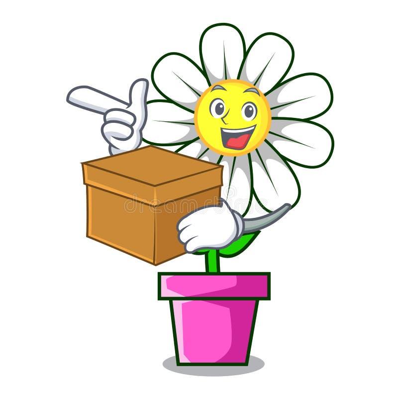 With box daisy flower character cartoon stock illustration