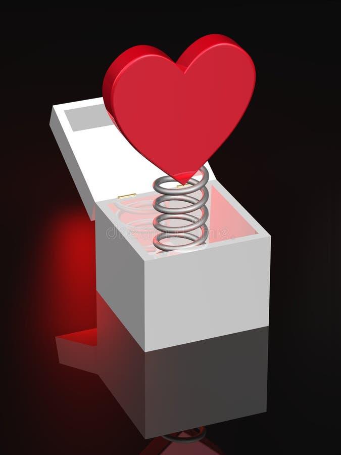 box den röda fjädern för coilhjärta vektor illustrationer
