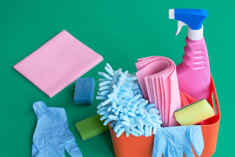 Box with detergents and disinfectants for cleaning the house royalty free stock photos