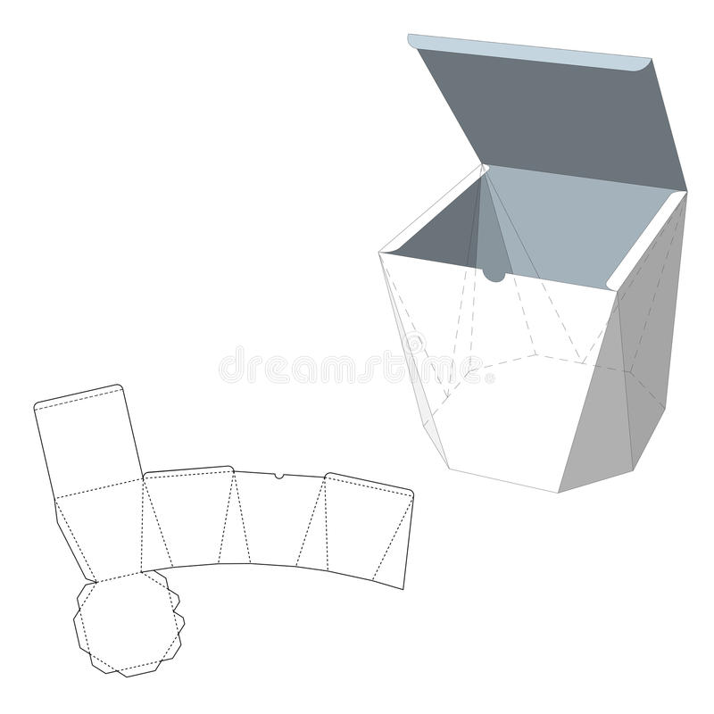 Box with Die Cut Template. Packing box For Food, Gift Or Other Products. On White Background . Ready For Your royalty free illustration
