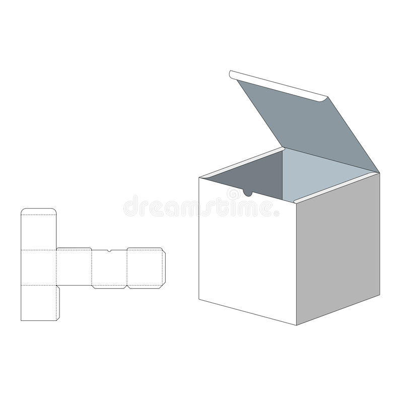 Box with Die Cut Template. Packing box For Food, Gift Or Other Products. On White Background . Ready For Your stock illustration
