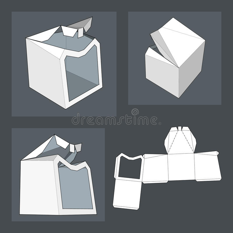 Box with Die Cut Template. Packing box For Food, Gift Or Other Products. stock illustration