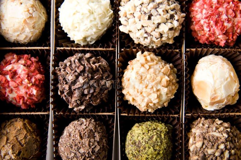 Box of different luxury handmade chocolates royalty free stock photos