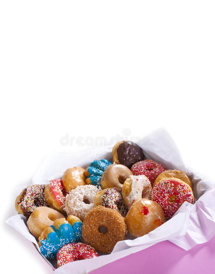 Box of Donuts. Box of assorted colorful donuts stock photos