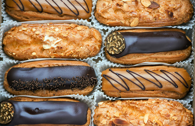 Download A box of eclairs stock photo. Image of cooking, gold - 63260648