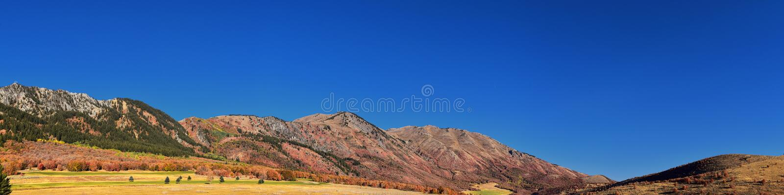 Box Elder Canyon landscape views, popularly known as Sardine Canyon, North of Brigham City within the western slopes of the Wellsv. Ille Mountains, by Logan in royalty free stock photography
