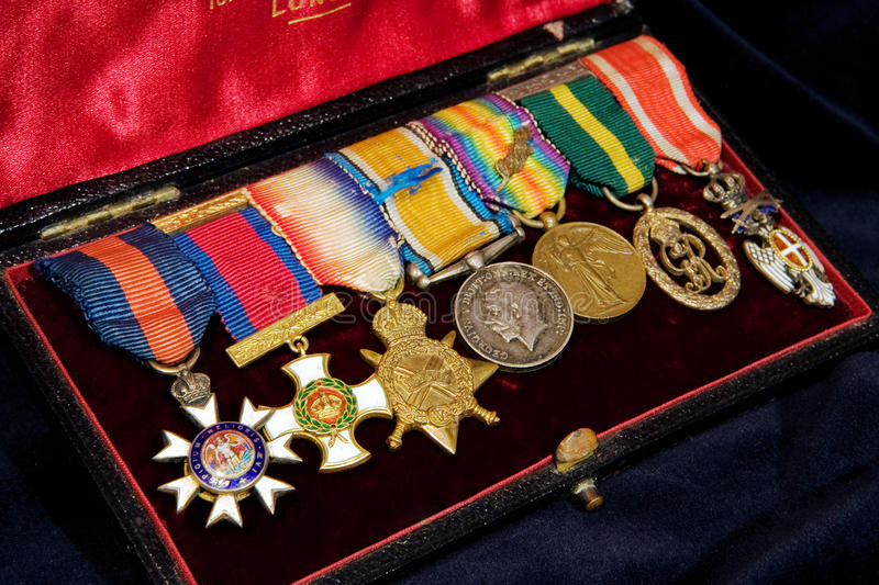 Box with English Vintage WWI medals on black.  royalty free stock photos