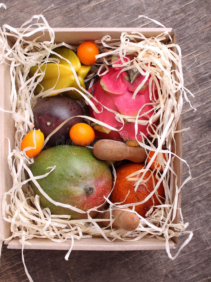 Box of exotic fruits royalty free stock images