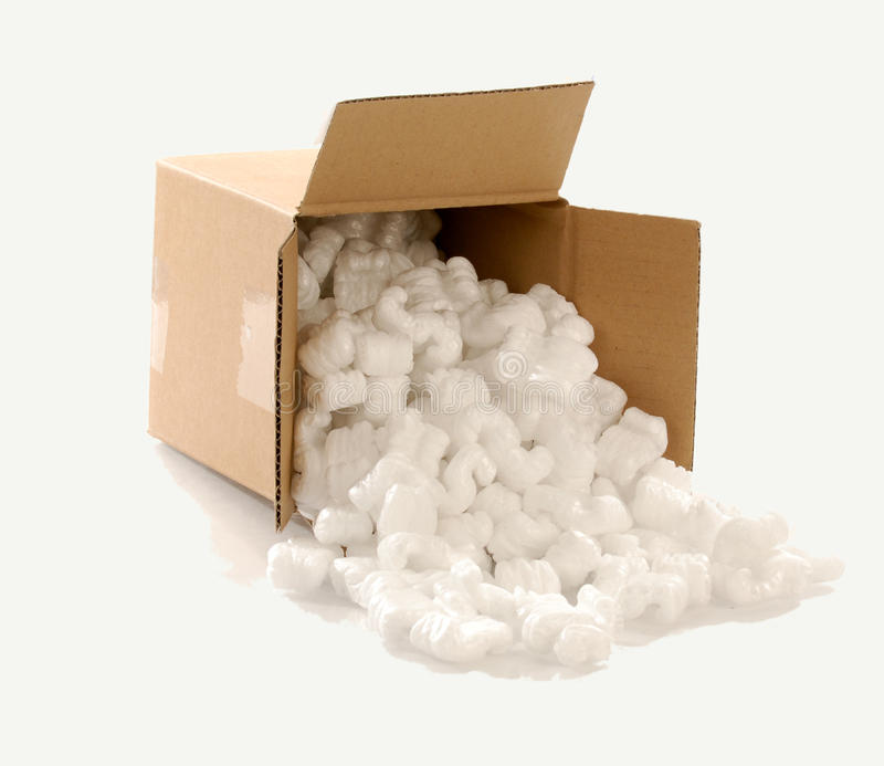 Box filled with packing chips royalty free stock photos