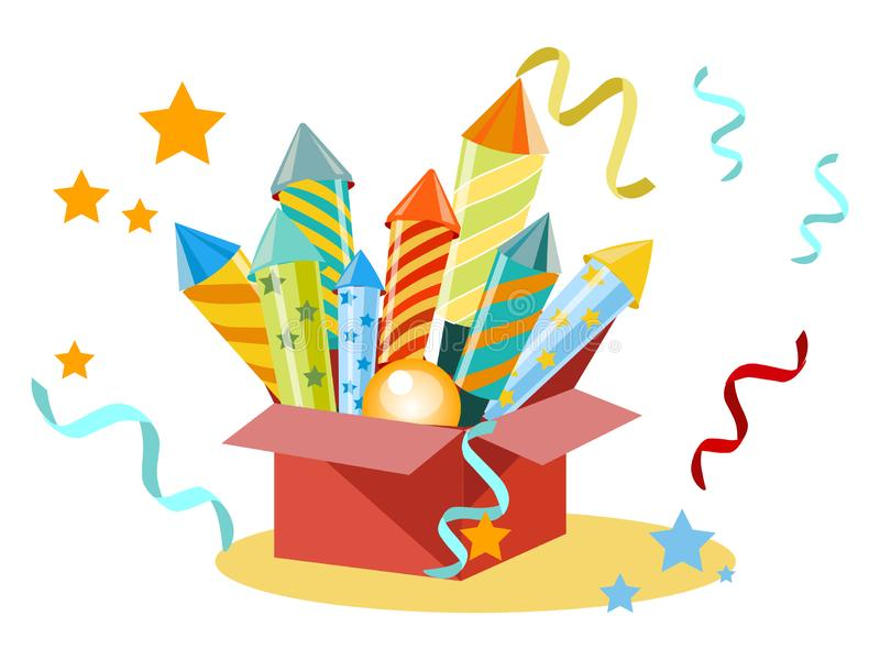 Box with fireworks, firecrackers. Set for the holiday. In minimalist style. Flat isometric vector vector illustration