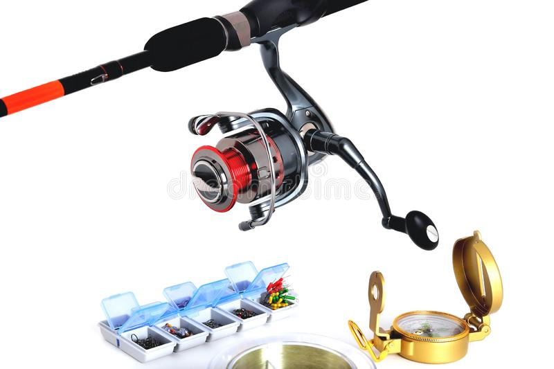 Box for fishing accessories, fishing reel, fishing rod, fishing feeders white background. Close-up stock photos