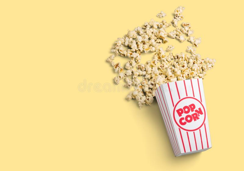 Popcorn food in box on light background royalty free stock image