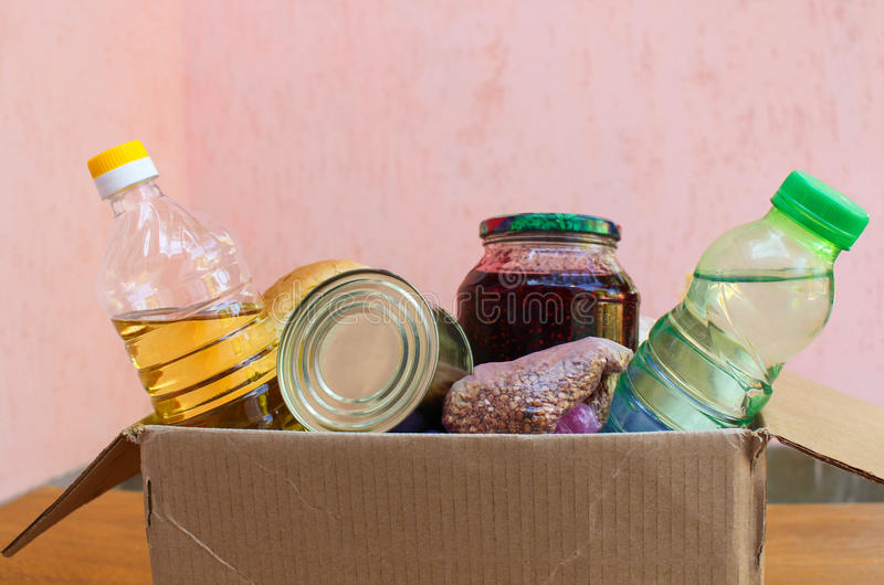 A box with food. Products with long shelf royalty free stock photo