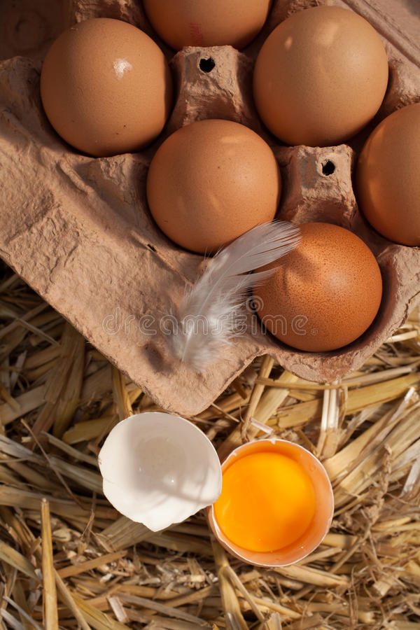 Box of fresh farm eggs with an egg yolk royalty free stock images