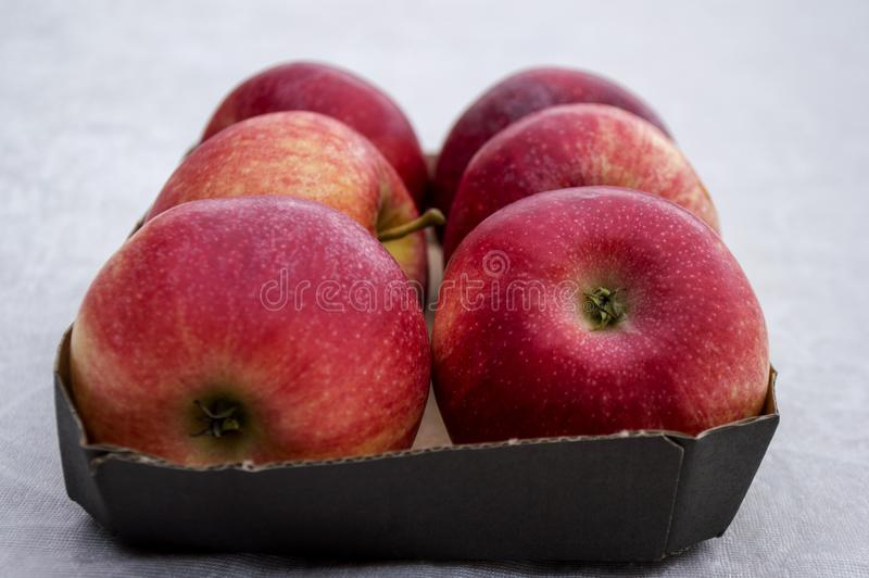 Box With Fresh Red Apples. Box filled with fresh organic red apples on white background stock images
