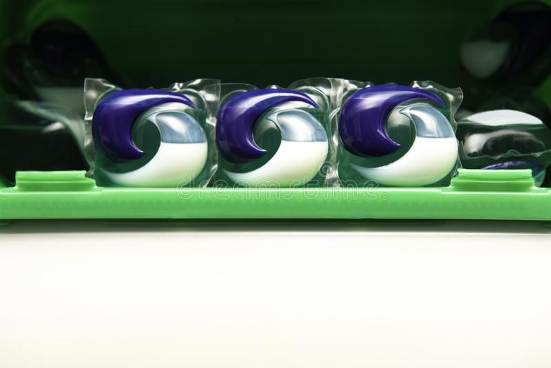 Box with gels in capsules. royalty free stock photography