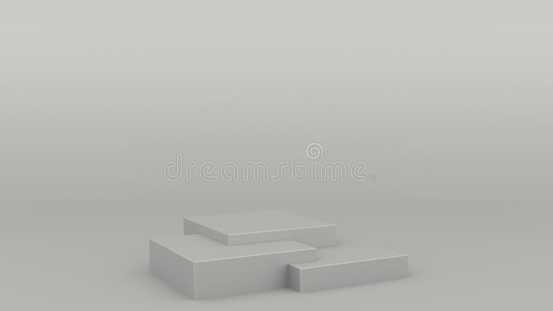 Box geometric podium gray scene minimal 3d rendering modern minimalistic mock up, blank template, empty showcase stock illustration