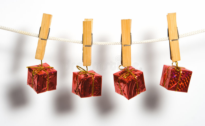 Box gift with bow on rope stock images