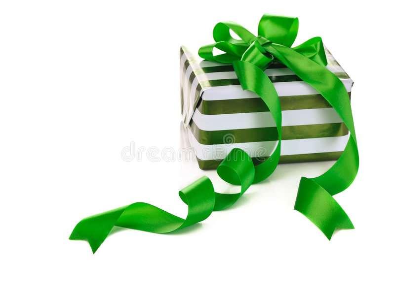 Box gifts. With satin bow isolated on white background stock photos