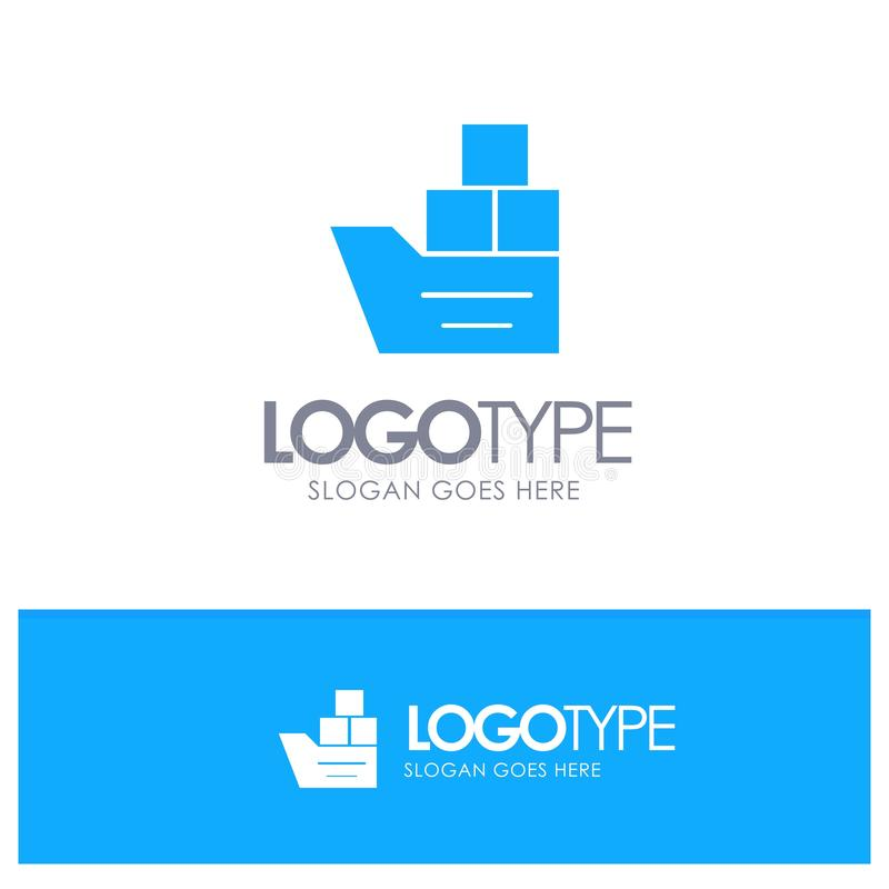 Box, Good, Logistic, Transportation, Ship Blue Solid Logo (Caixa, Bom, Logístico, transporte, enviar logotipo sólido azul com o l ilustração royalty free