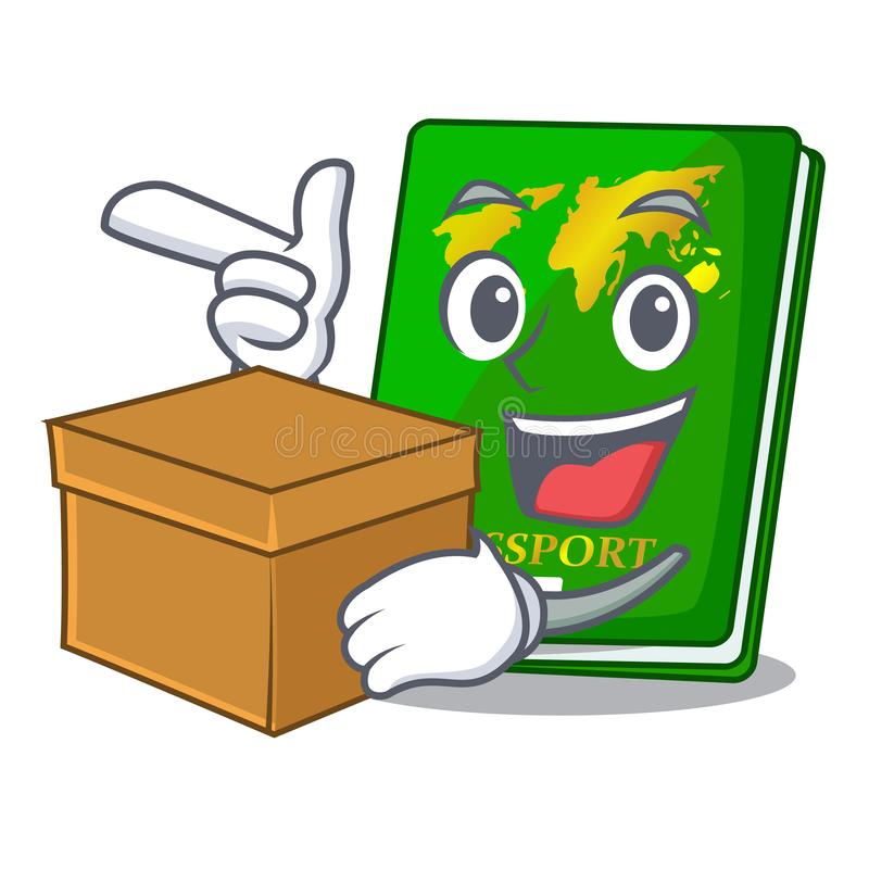 With box green passport in the cartoon shape. Vector illustration royalty free illustration