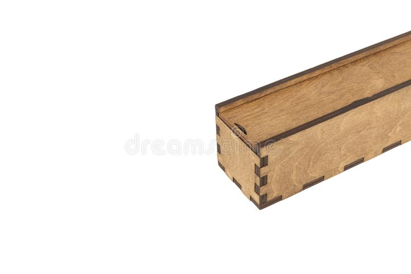 Box of handmade wood on a white background, isolate. Box of handmade wood on a white background, isolate stock image