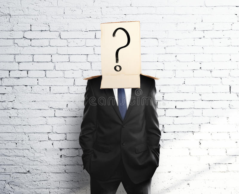Box on head with question mark royalty free stock photo