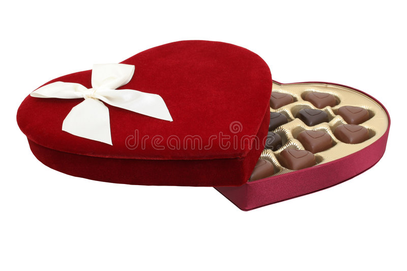 Box of Heart Shaped Chocolates with Clipping Path (8.2mp Image) stock photos