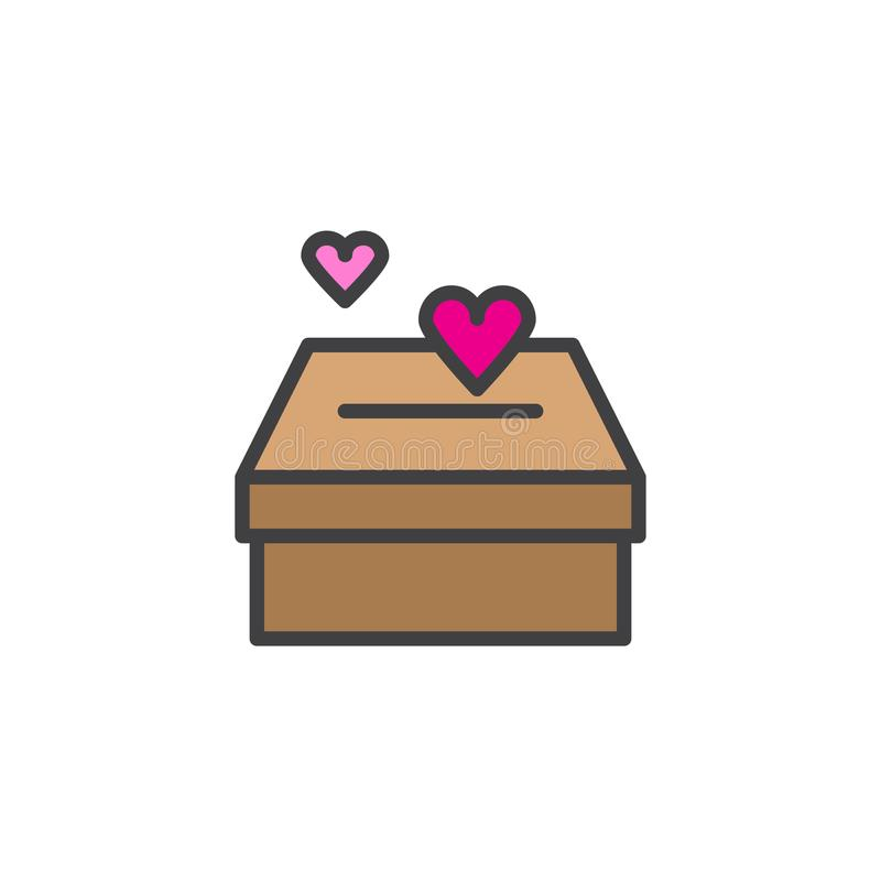 Box with hearts filled outline icon vector illustration