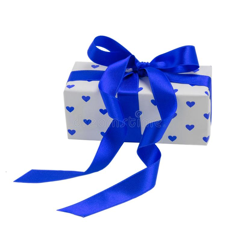 Box with hearts isolate on white background, packed with tape. Valentine`s day holiday concept stock images