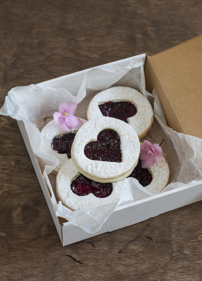 Box of homemade cookies-hearts with jam. Valentine`s Day gift royalty free stock images
