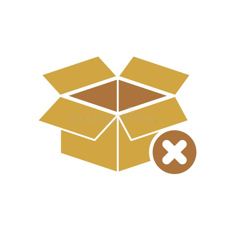 Box icon, delivery and shipping, open package, unbox icon with cancel sign. Box icon and close, delete, remove symbol vector illustration