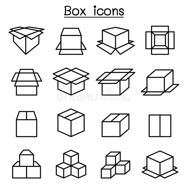 Box icon set in thin line style royalty free illustration