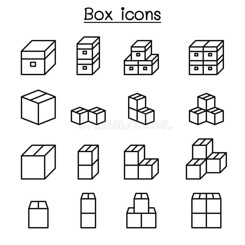 Box icon set in thin line style vector illustration