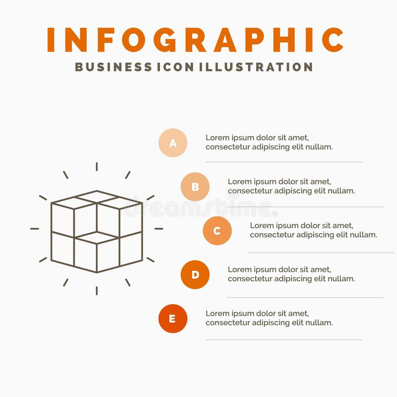 box, labyrinth, puzzle, solution, cube Infographics Template for Website and Presentation. Line Gray icon with Orange infographic stock illustration