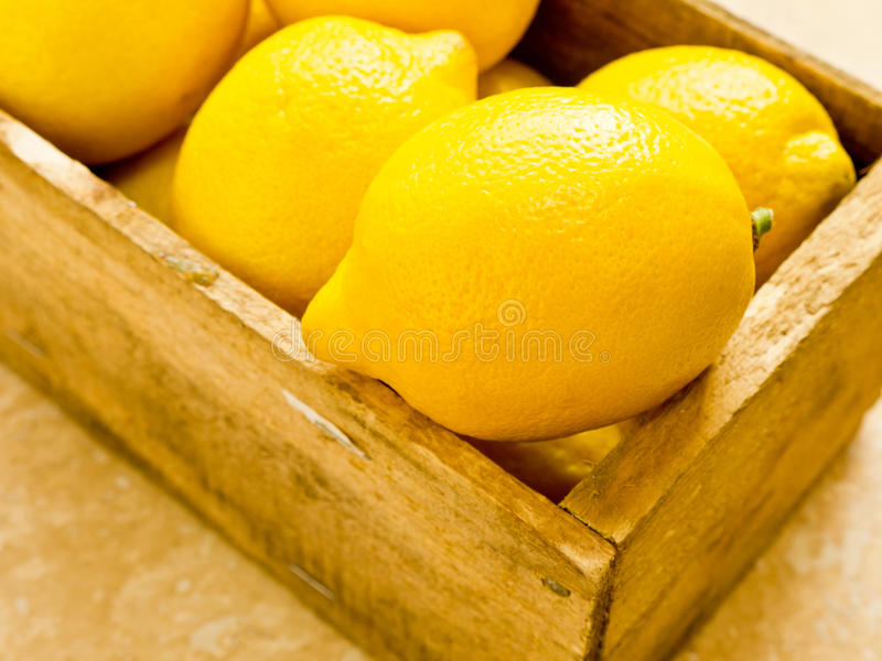 Box of Lemons stock image