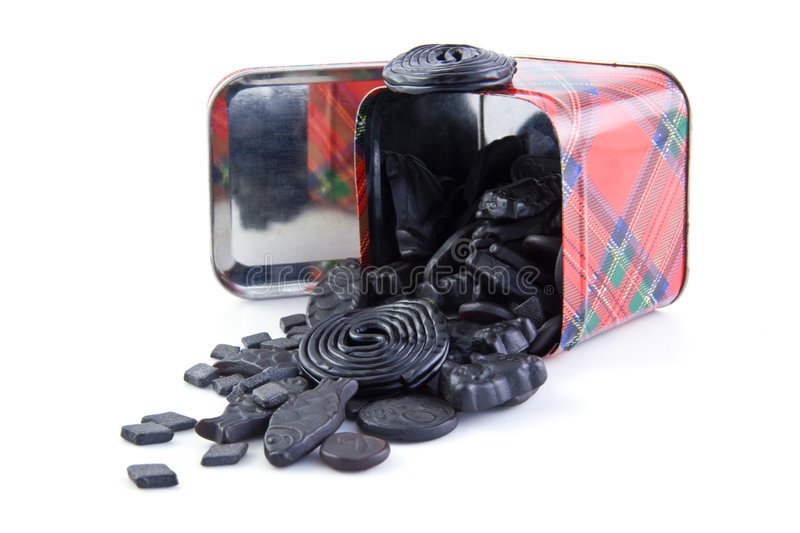 Box Of Licorice With Reflex Covering Royalty Free Stock Images