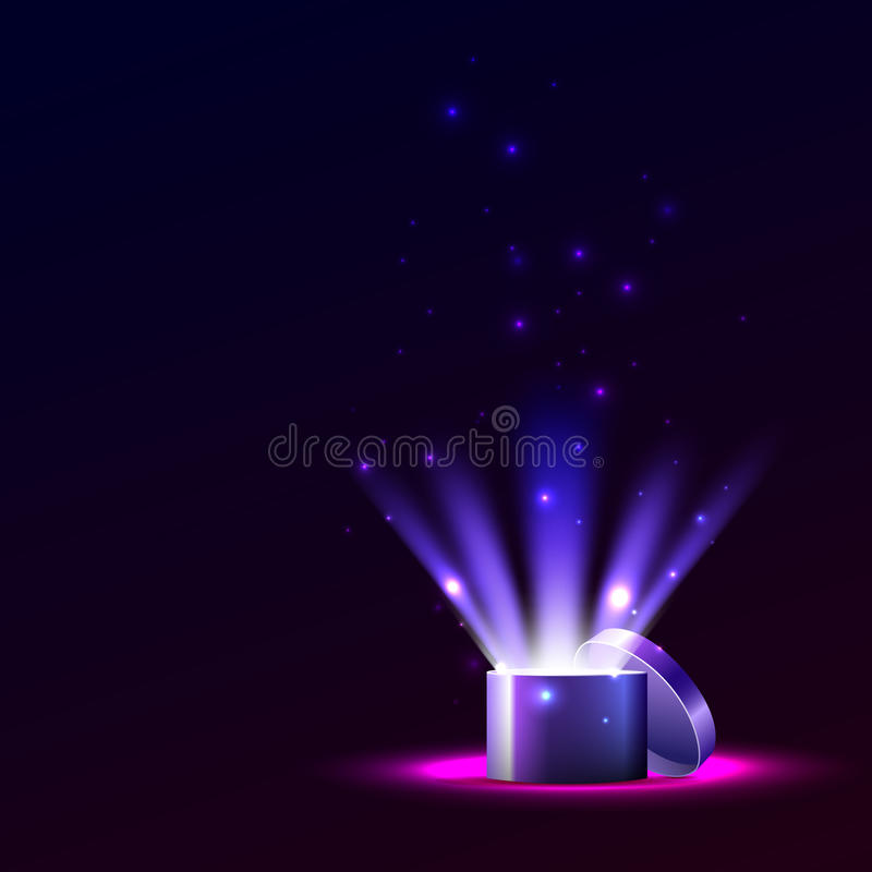 Box of light and sparks, a gift for the holiday. stock images