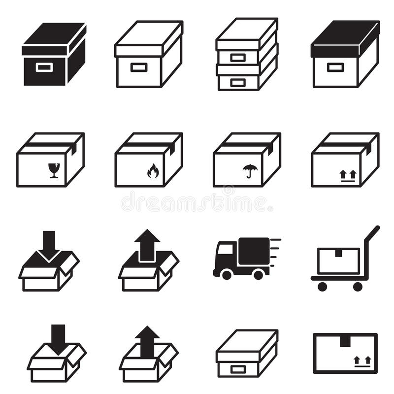 Box & Logistic delivery icons. stock illustration