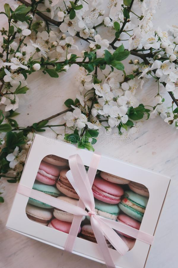 Box of macarons royalty free stock image