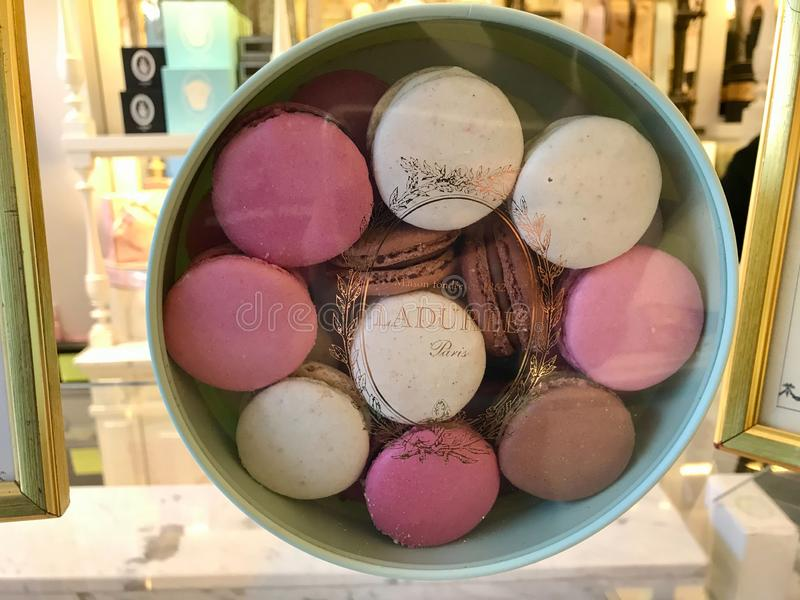 Box of Macarons / Macaroons from Laduree store in Istanbul for Sale, Turkey on November 8, 2019. Box of Macarons / Macaroons from Laduree store in Istanbul royalty free stock photos